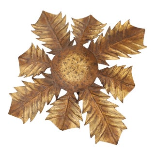 Gilt Tole Acanthus Flush Mount For Sale