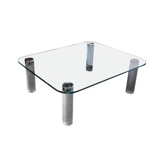 1960s Mid-Century Modern Pace Lucite Glass Coffee Table For Sale