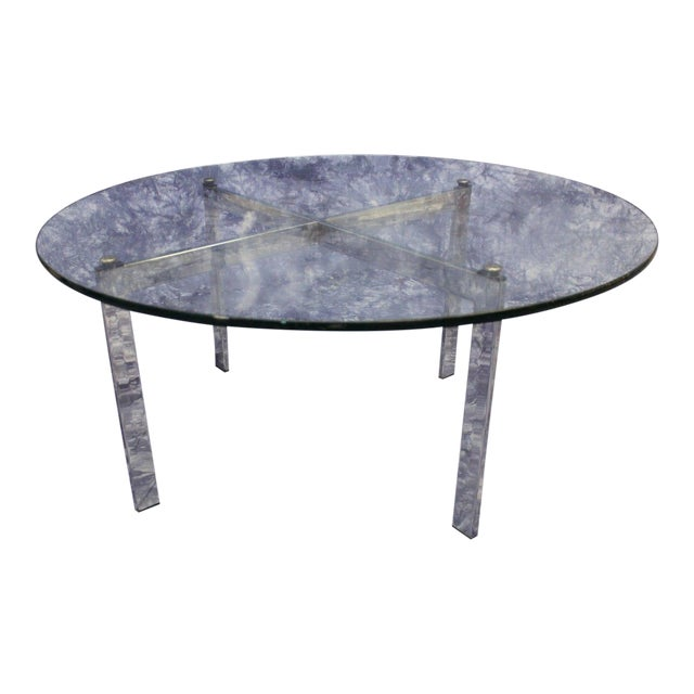 Barcelona Mid-Century Modern Round Glass Top Coffee Table