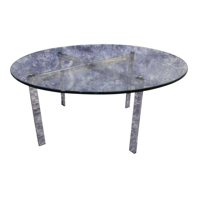 Mid Century Modern Round Coffee Tables: Barcelona Mid-Century Modern Round Glass Top Coffee Table