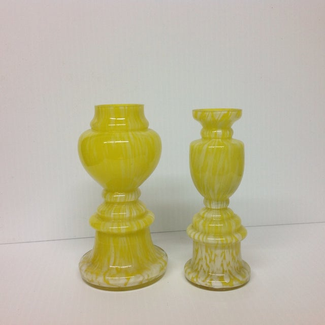 A pair of yellow Czech glass vases. These antique vases are bright, cheery and just perfect for spring decor!