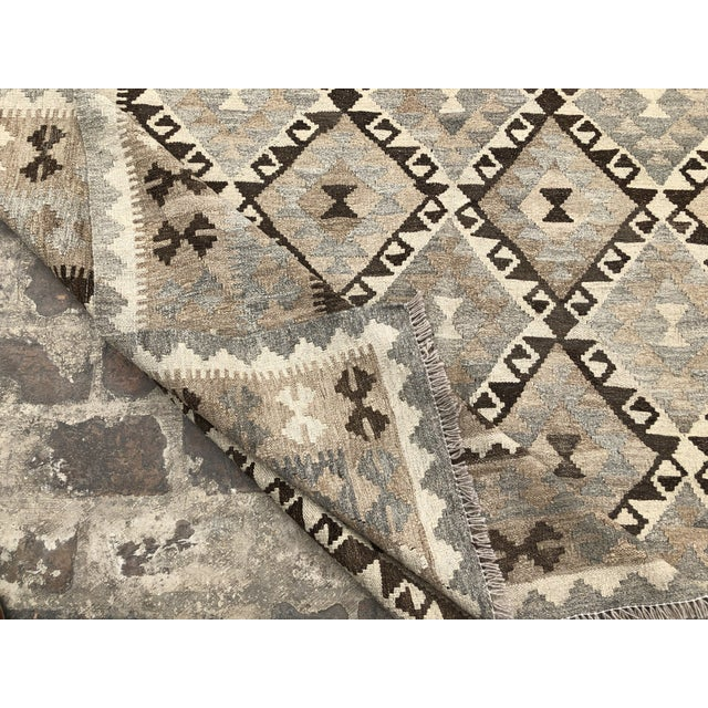Nomad's Afghan Chobi Kilim Rug - 6′9″ × 9′9″ For Sale - Image 9 of 9