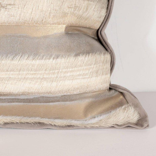 Pair of Custom Modernist Horsehide and Ultra Suede Banded Pillows in Metallic Tones For Sale - Image 4 of 10