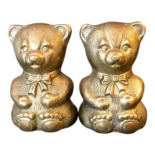 Vintage Brass Bear Bookends - A Pair