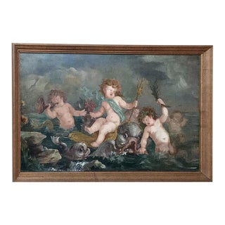 "Antique ""Young Neptune and Sea Nymphs"" Painting For Sale"