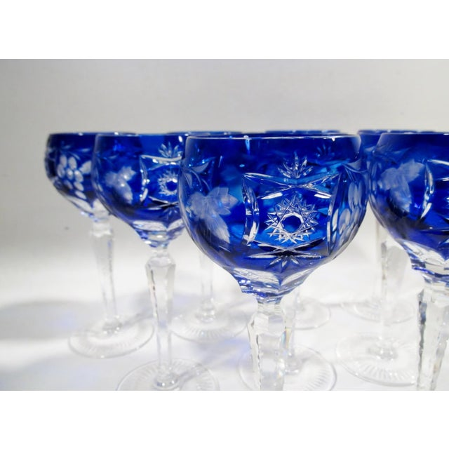 Blue Nachtmann Traube Cobalt Blue Cut Clear Hock Wine Goblets - Set of 9 For Sale - Image 8 of 11