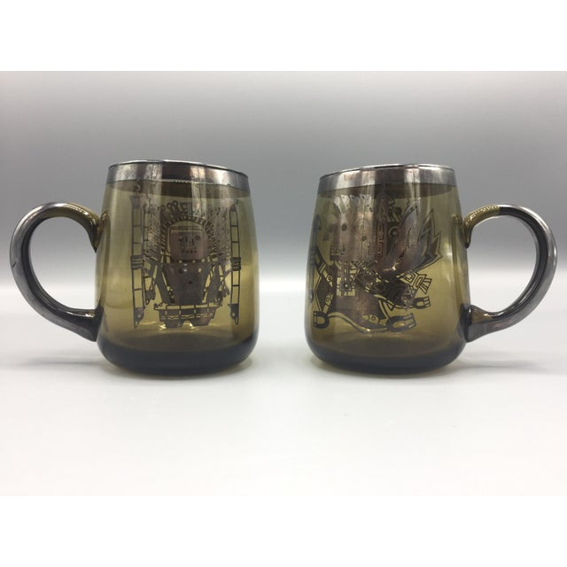 1960s Mid Century Smoke Glass Mugs-a Pair For Sale - Image 10 of 10