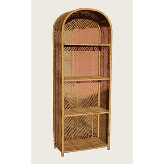 Vintage French Country Rattan Bookcase W Four Shelves Preview