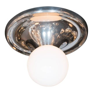 "Mid-Century White Globe ""Drop"" Flush Mount with Chrome Frame For Sale"