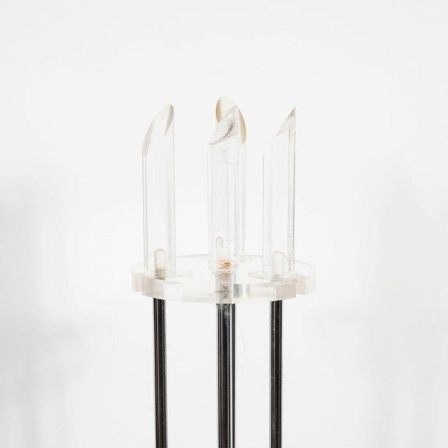 Contemporary Mid-Century Modern Four-Piece Lucite and Chrome Fire Tool Set For Sale - Image 3 of 10