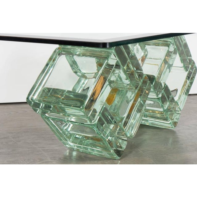 Famous Incredible Mid-Century Double-Diamond Glass Block Cocktail Table  ZO05