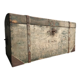 19th Century Antique Wooden Trunk For Sale