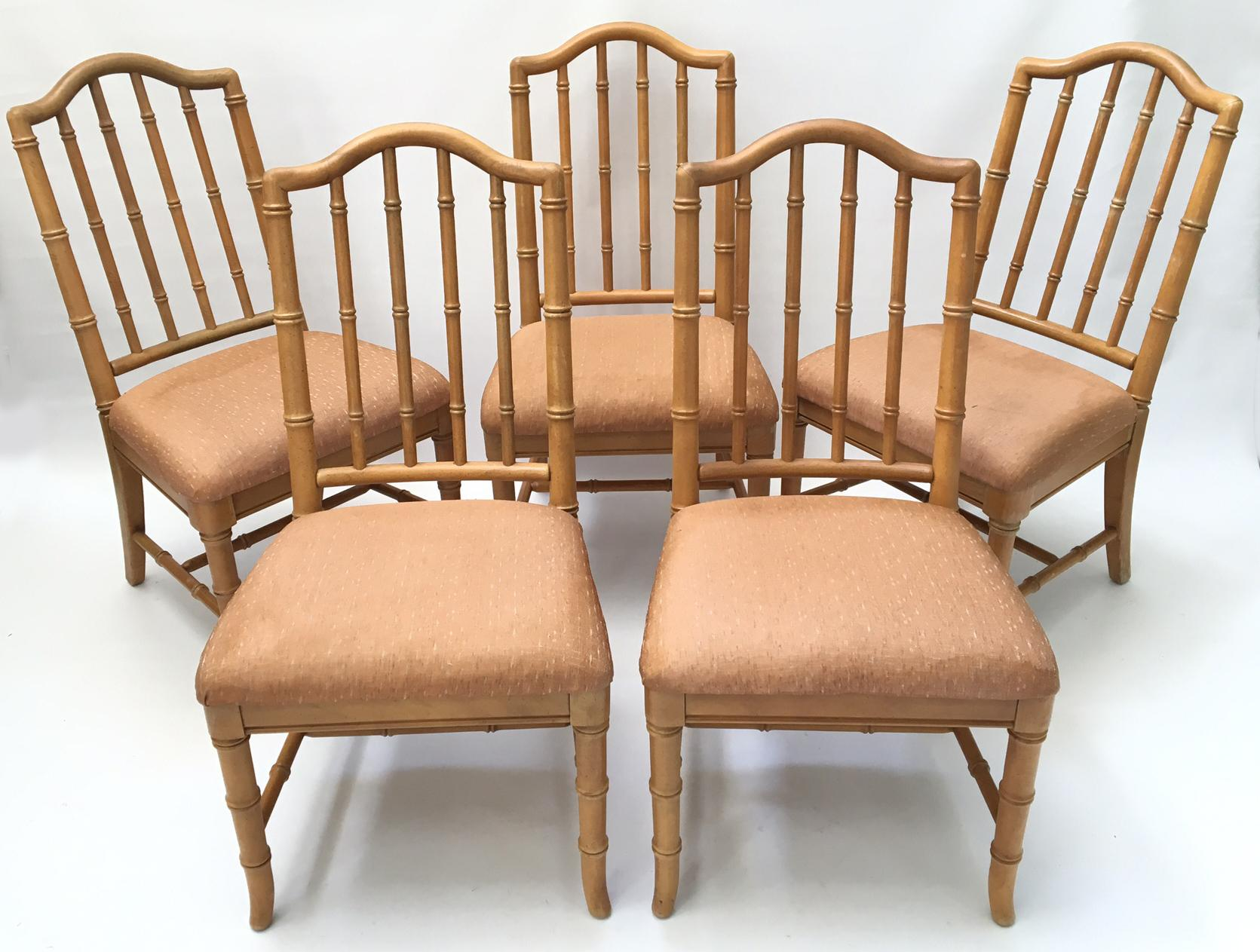 Hollywood Regency Faux Bamboo Dining Chairs   Set Of 5   Image 2 Of 7