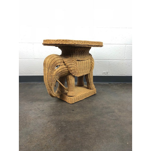 Vintage Woven Rattan Elephant Tray Table For Sale - Image 13 of 13
