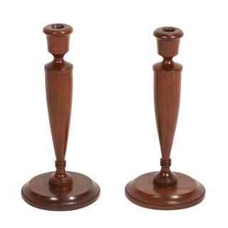 Pair of Turned Candlesticks in Mahogany For Sale