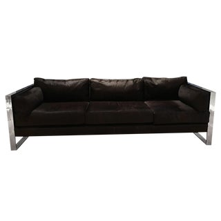 Milo Baughman Mid Century Modern Chrome and Cowhide Sofa For Sale