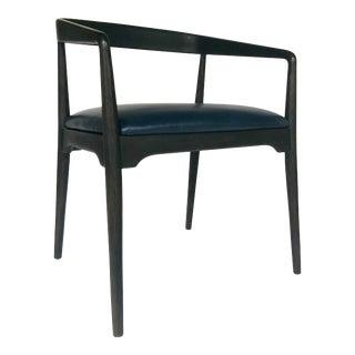 Arteriors Modern Indigo Leather Walton Arm Chair For Sale