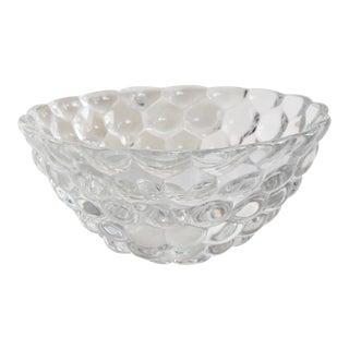 1960s Orrefors Crystal Medium Raspberry Bubble Bowl For Sale