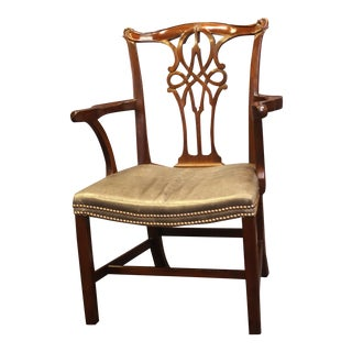 Baker Furniture George III Style Mahogany Arm Chair For Sale