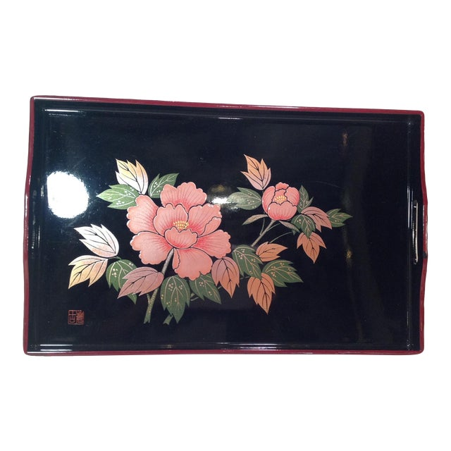 Mid-Century Modern Japanese Lacquer Tray With Floral Design - Image 1 of 11