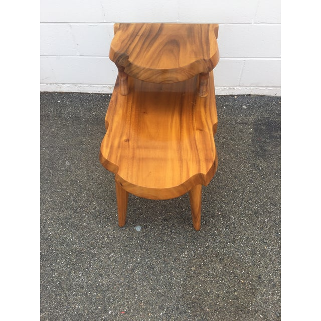 1960s Organic Modern Solid Slab Koa Wood 2-Tiered End Table For Sale - Image 10 of 12
