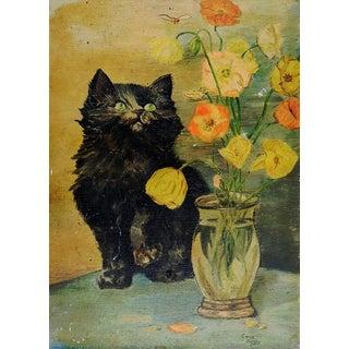1930's Black Kitten & Flowers Painting For Sale
