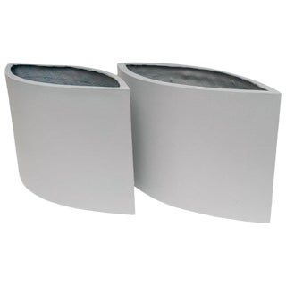 1960s Mid-Century Modern Minimalist White Fiberglass Planters - a Pair For Sale