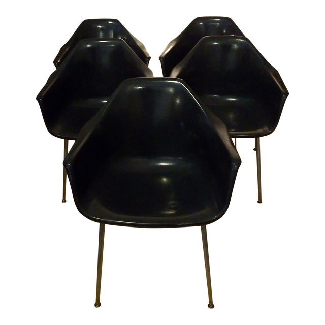 Eames Style Black Shell Armchairs - Set of 5 For Sale