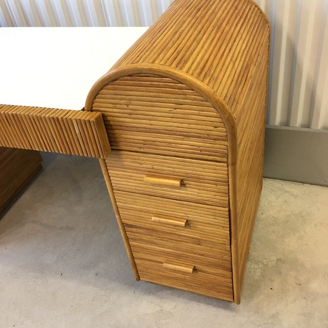 Mid-Century Modern 1980s Monumental Split Reed/Bamboo Writing Table or Desk For Sale - Image 3 of 13