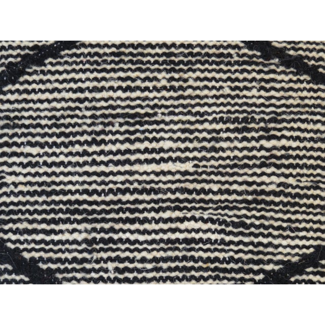 Textile Black Beni Ourain Moroccan Wool Pouf For Sale - Image 7 of 9