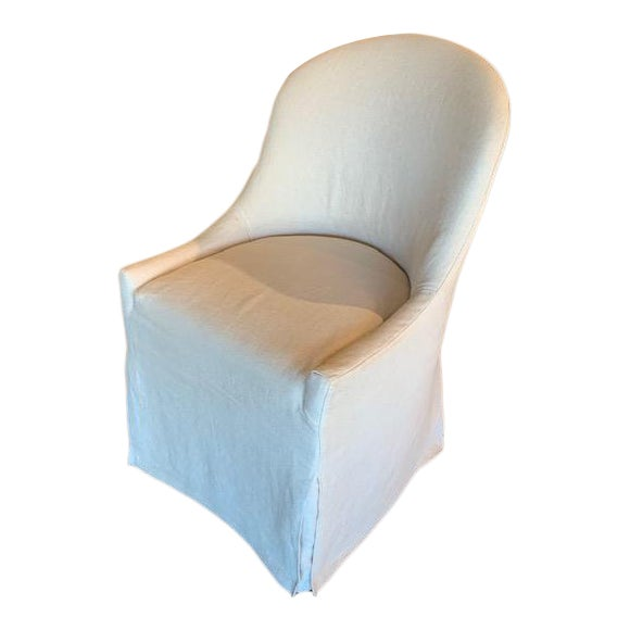 Quilted Back Detail- Lancaster Custom Crafted Upholstery Slipcovered Dining Chair For Sale