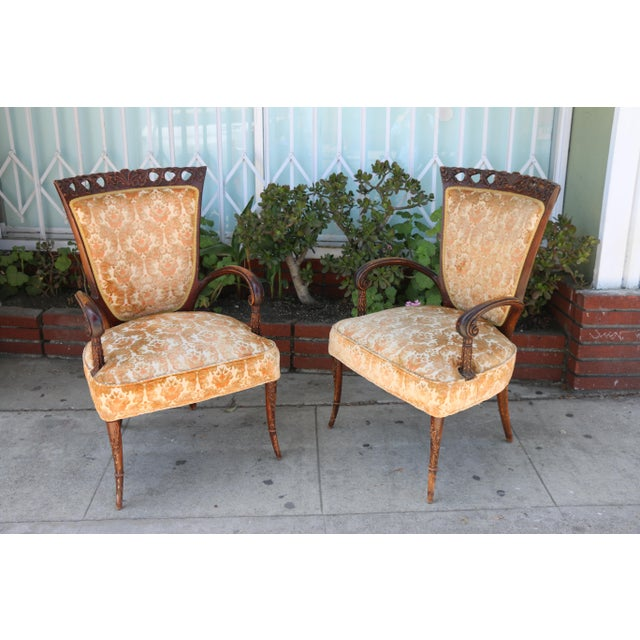 Vintage condition pair of 1940's arm chairs with original upholstery. These chairs are well kept, they have beautiful...