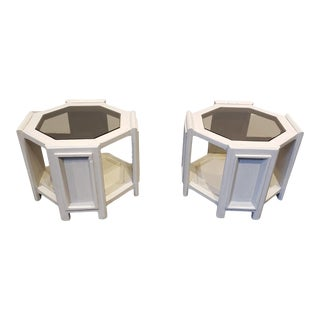 Octagonal Side Tables With Faux Concrete Finish and Smoked Glass - a Pair For Sale