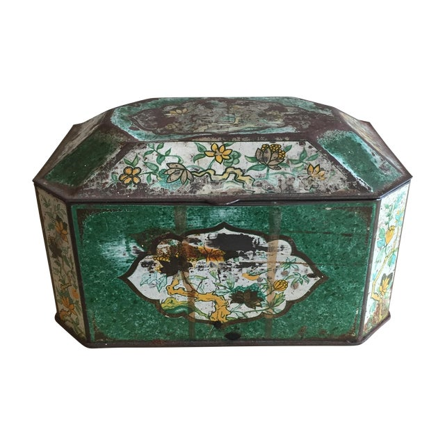 Chinoiserie Flowers English Metal Box - Image 1 of 7