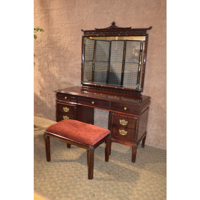 1950s 1950s Vintage Asian Inspired Mahogany Vanity Desk & Bench - 2 Pieces For Sale - Image 5 of 13