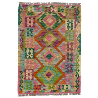 Afghan Kilim Handspun Wool Rug - 3′4″ × 4′8″ For Sale