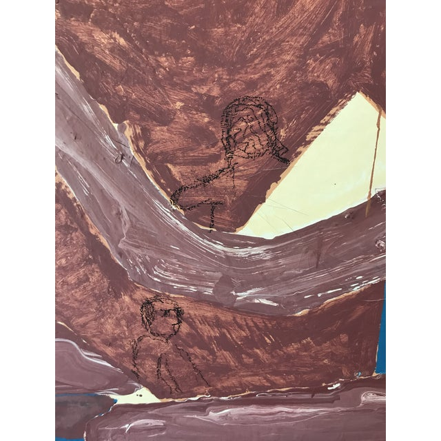 Vtg Mid Century Modern Large Original Abstract Oil Painting On Canvas Amazing Vintage Find Wonderful Mid Century Painting...