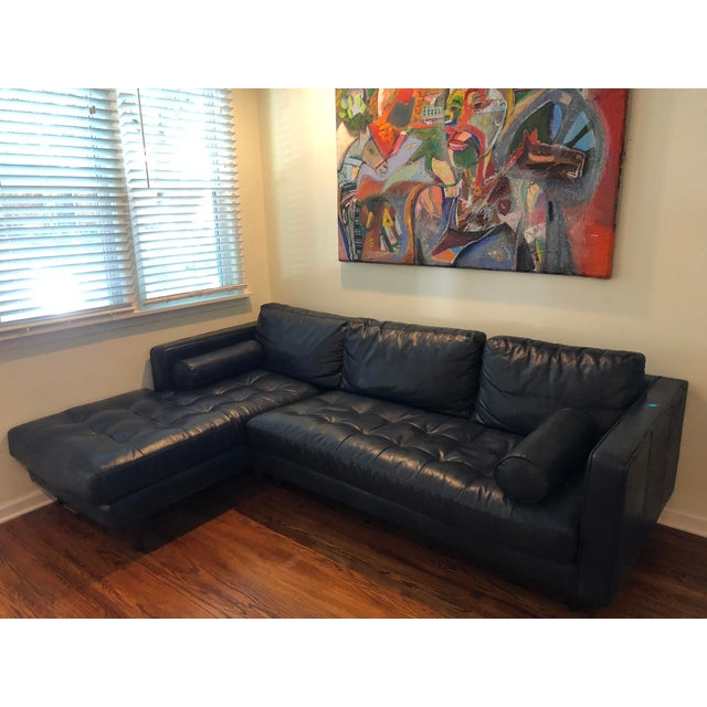 Mid Century Modern Contemporary Article Blue Leather Sven Sectional Sofa For