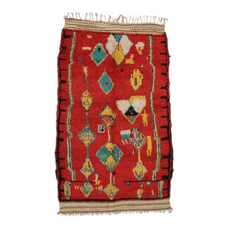 Vintage Red Moroccan Rug With Tribal Style, 04'10 X 07'00 For Sale