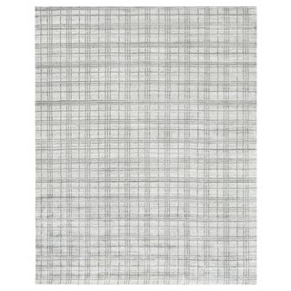"Cambridge Hand loom Bamboo/Silk White/Gray Rug-6'x9"" For Sale"