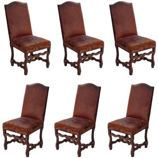 Set of Six Louis XIII Dining Chairs in Walnut With Original Leather For Sale