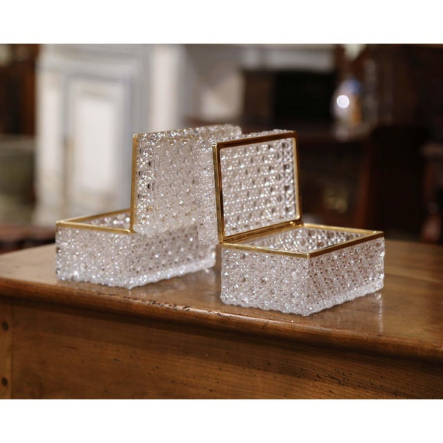 Pair of Early 20th Century French Baccarat Cut Glass and Brass Jewelry Boxes For Sale - Image 4 of 10