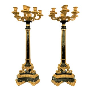 Pair Antique French Empire Marble and Bronze d'Ore Candelabra, Circa 1890. For Sale
