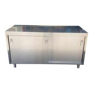 Design Within Reach Giulio Lazzotti Designed Quovis Stainless Steel Credenza C1990s For Sale
