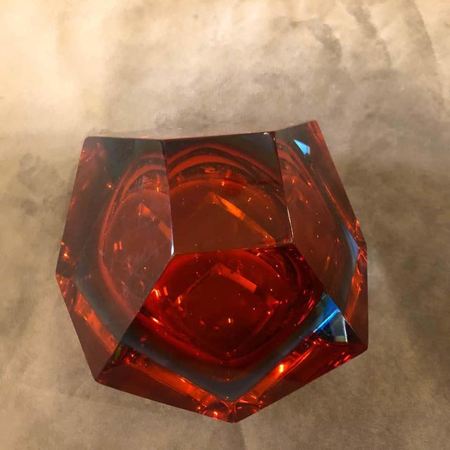Red 1960s Seguso Sommerso Faceted Murano Glass Ashtray For Sale - Image 8 of 11