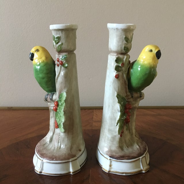 Traditional Vintage German Porcelain Parrot Candle Holders- a Pair For Sale - Image 3 of 8
