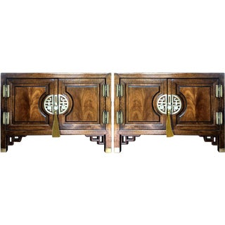 1960s Chinoiserie Wood and Brass Cabinets - a Pair For Sale