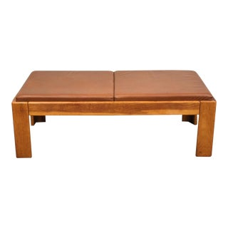 Modern Oak and Brown Leather Bench by Knoll For Sale