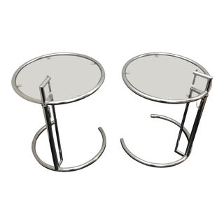Eileen Gray Inspired Chrome End Tables - a Pair