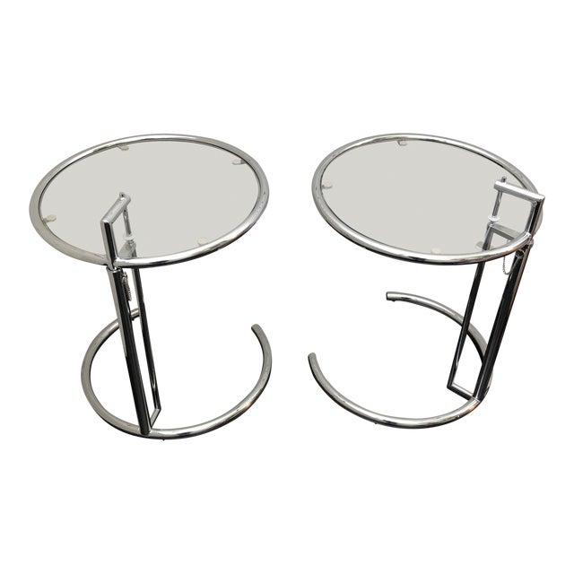 Eileen Gray Inspired Chrome End Tables - a Pair For Sale